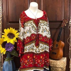 🏆BILA BOHO Peasant Gypsy Hippy Bell Sleeve Top